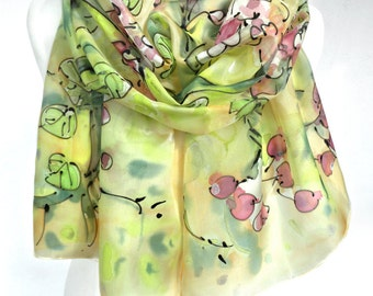 Hand Painted Scarf. Yellow Silk Scarf. Gift Idea for Her. Silk Painting. Bridesmaids Gift. Fashion Elegant Scarf Shawl. 18x71in. Ready2Ship