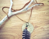 LAST ONE Owl and Moon necklace brass hammered circle striped feather antique brass findings wood pattern bead adjustable deerskin leather