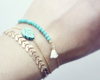 dainty turquoise beaded bar, tassel bracelet - gold filled minimalist boho jewelry (one)