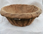 Sold do not buy CFC French Vintage Bakers  Burlap Basket Rare ,Shabby  Gorgeous Country Handmade Basket