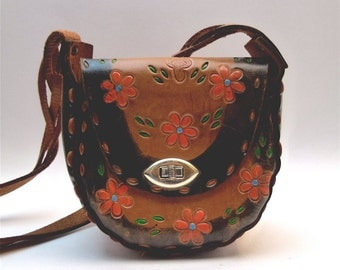 Tooled leather bohemian pouch handbag, purse - flowers