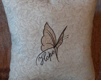 """Pillow Cover  - """"Butterfly of Hope"""" Decorative, Elegant Pillow Cover - Handmade Pillow Cover"""