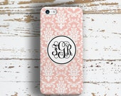 Pretty Iphone 6 Plus case, Gift for wife, Soft pink and white damask floral (9772)