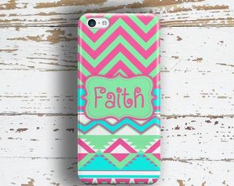 Tween phone case, Aztec Cute Chevron Tribal Aztec mint aqua hot pink, Fits iPhone 4/4s 5/5s 6/6s 7 8 5c SE X and Plus (1290)