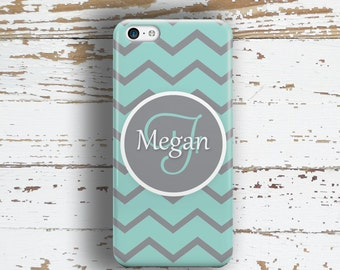 Monogram gifts for girls, Name Iphone 4s case, Preppy Iphone 5s case, Aqua and gray chevron print (9845)