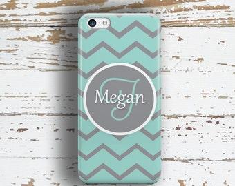 Chevron Iphone 6 Plus case, Name Iphone 4s case, Monogram gifts for girls, Aqua gray, Preppy Iphone 5s case, Pretty Iphone 5c case (9845P)