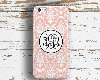 Pretty phone case, Gift for wife, Fits iPhone 4/4s 5/5s 6/6s 7 8 5c SE X and Plus, Soft pink and white damask floral (9772)