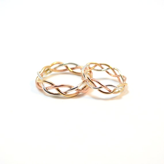 14k Gold Braided Matching Wedding Bands. His & Hers Set. 6mm and 4mm.