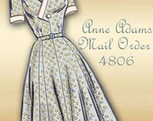 Anne Adams Mail Order 4806 Vintage 1950s Dress Pattern Surplice Bodice Closure Flared Skirt Half Size Plus Size Bust 36