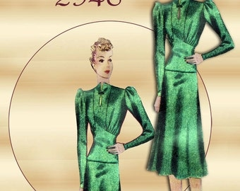 Simplicity 2946 1930s Dress Pattern Art Deco Era Slenderizing and Sophisticated Two Piece Dress
