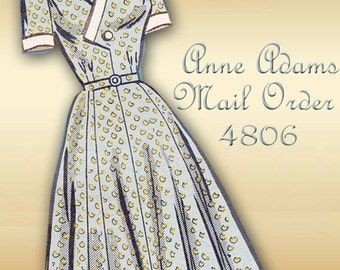 Anne Adams Mail Order 4806 Vintage 1950s Dress Pattern Surplice Bodice Closure Flared Skirt Half Size Plus Size Bust 36