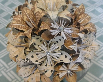 Origami Bouquet, Paper Flower Bouquet, Shabby Chic Wedding Bouquet, Kusudama and Origami Bouquet, Modern Wedding, Rustic Wedding Bouquet
