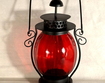 Tea Candle Light Tea Candle Lantern Lamp Red Globe Black