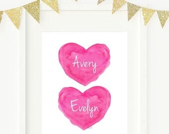Sisters Hot Pink Wall Decor, Twin Girls, Twin Sisters Nursery Art, Twin Sisters, Sisters Print, Hot Pink Girls Room Decor, Hot Pink Hearts