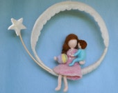 Room Decor Waldorf Inspired  Mobile: Mother and Child (BOY OR GIRL).Made to Order