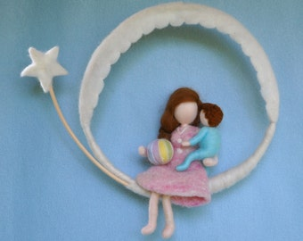 Room Decor Waldorf Inspired  Mobile: Mother and Child (BOY OR GIRL).Mothre's day gift.