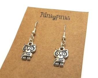Owl Earrings, Cute Owl Jewellery, Owl Jewelry, Owl Charm Earrings, Woodland Animal Earrings