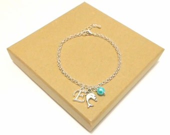 Dolphin Necklace or Dolphin Bracelet, Dolphin Jewellery, Dolphin Charm Necklace, Personalised Dolphin Initial Bracelet, Sea Jewellery, Ocean