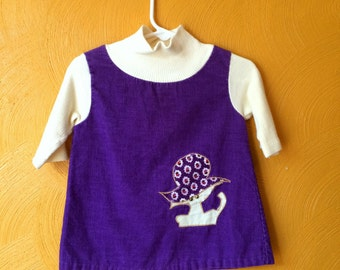 Vintage 60s purple cord baby tunic/dress with cat with a hat .3/4 sleeve .retro baby, vintage baby dress .size 12 M