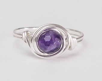 Amethyst Ring, February Birthstone, Sterling Silver Ring, Purple Ring, Gemstone, Any Size, Gift Ideas