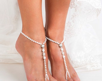 Beaded Barefoot sandals Bridal jewelry Filigree Beads Beach wedding Barefoot Sandals Bridal barefoot sandal Footless sandals Bridal Shoes