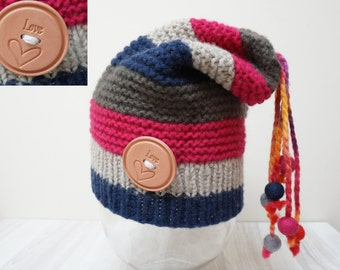 Slouch hat tam rasta beanie beret bobble dread cap oversized knit striped chunky handmade Felt wool balls grey red navy blue  warm pom pom