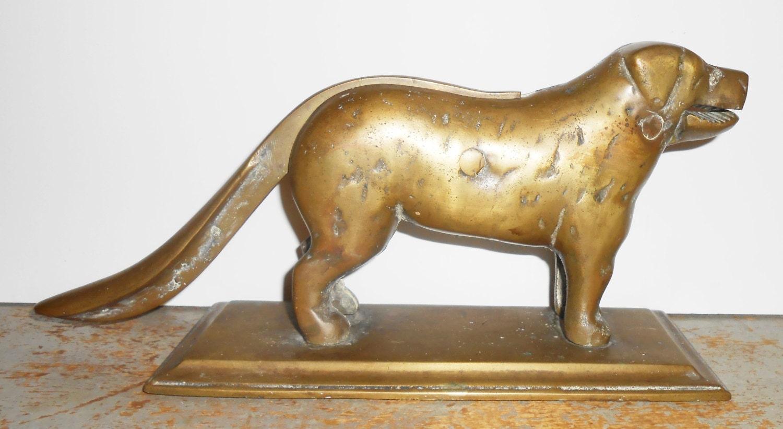 Vintage nutcracker dog solid brass mechanical big