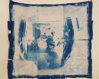 Living II cyanotype on fabric
