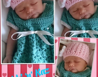 Baby Girl/ Girls Crocheted Beanie with Flower