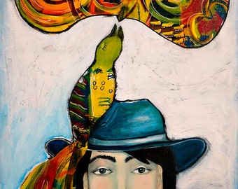 Songbird Singing Songs of Love, Woman with Bird, 11 x 14 Print