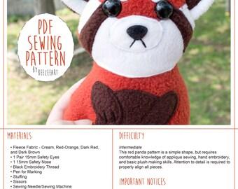 Grumpy Red Panda Stuffed Animal Sewing Pattern, Plush Toy Pattern, PDF Tutorial