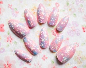 Pastel Galaxy Fake Nails, Stiletto Nails, Almond Nails, Press on, Nails, Acrylic, Pink Galaxy, Pastel, Fairy Kei, Kawaii, Lolita, Fake Nails