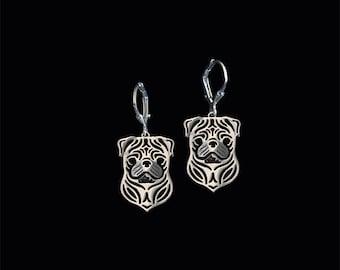Pug earrings - Sterling silver.