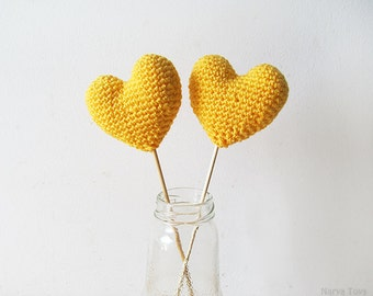 Amigurumi Crochet Sun Heart (Set of 2) - Cake topper - Wedding table decor - Birthday party decoration