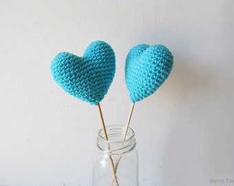 Amigurumi Crochet Amulet Heart (Set of 2) - Cake topper - Wedding table decor - Birthday party decoration