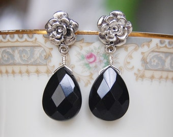 Black Onyx Earrings ,  Black Flower Earrings , Silver Post Dangle Earrings