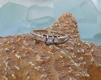 PRICED To SELL Vintage Solid 10K Yellow Gold .33ct Princess Cut Trilogy Diamond Engagement Ring - Size 6 1/4