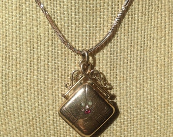 """SALE CAVIAR DREAMS Victorian Rose Gold Seed Pearl Ruby Locket Watch Fob Sterling & Rose Gold Rope Chain - 18"""" - Etsy - andersonhs"""
