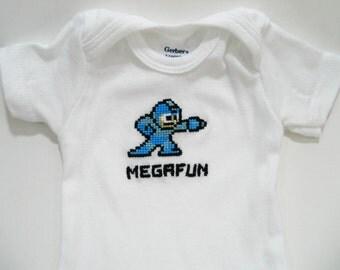 Megaman hand embroidered baby bodysuit onesie
