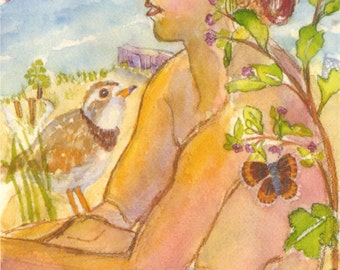 Earth Goddess Piping Plover and Lycaeides Melissa, Mini Archival Print, by Michelle Kogan, Watercolor, Art and Collectibles, Nature