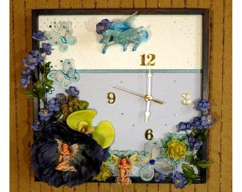 Modern Wall Clock, Contemporary Girls Bedroom Decor, Unique Blue Wall Art, Mystical Unicorn Angel Theme, Nchanted Gifts, OOAK