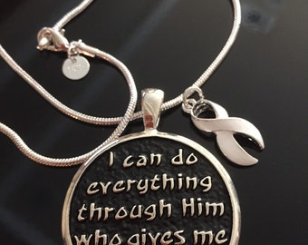 I Can Do Everything Necklace - White Ribbon Charm - Lung Cancer Awareness Survivor Gift