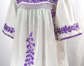 """Mexican Peasant Blouse Top Hand Embroidered: """"La Marina"""" White with Purple Embroidery"""