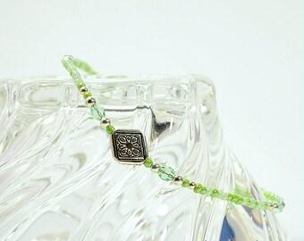 Celtic Anklet Green Ankle Bracelet Light Green Mix Beaded Anklet Celtic Jewelry 9 inch Anklet Strong Anklet