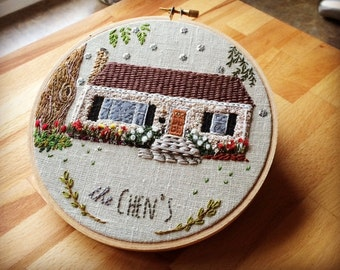 CUSTOM HOUSE PORTRAIT - Personalized Embroidery Hoop Art of your Home