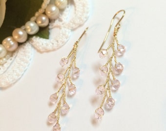 Gold dangle earrings, bridal earrings, wedding earrings, bridal earrings gold, bridal earrings crystal, bridesmaid earrings, wedding earings