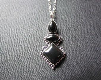 Black Onyx Necklace - Woman's gift - 3 Tier Gemstone Pendant - Black Gemstone Jewelry -