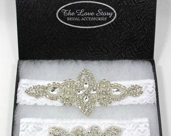 Wedding Garter Gift Set, Wedding Garter Set, Bridal Garter Set, Vintage Wedding, Lace Garter, Crystal Garter Set - Style 001 A, Prom