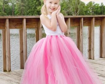 Full length pink tutu skirt. Long tutu.