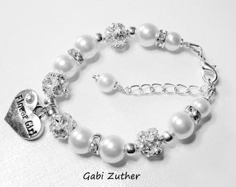 Flower Girl Bracelet, Little Girls Wedding Jewelry, Sparkling White Pearl Charm Bling Bracelet,